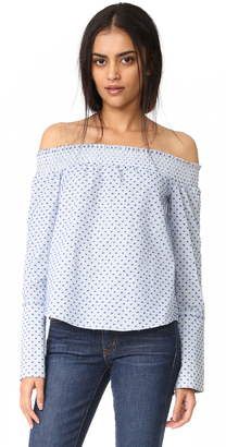 Derek Lam 10 Crosby Long Sleeve Off The Shoulder Shirt $295 thestylecure.com