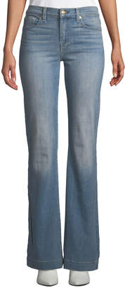 "7 For All Mankind Dojo Flared-Leg Jeans with Contrast ""7"" Pockets"