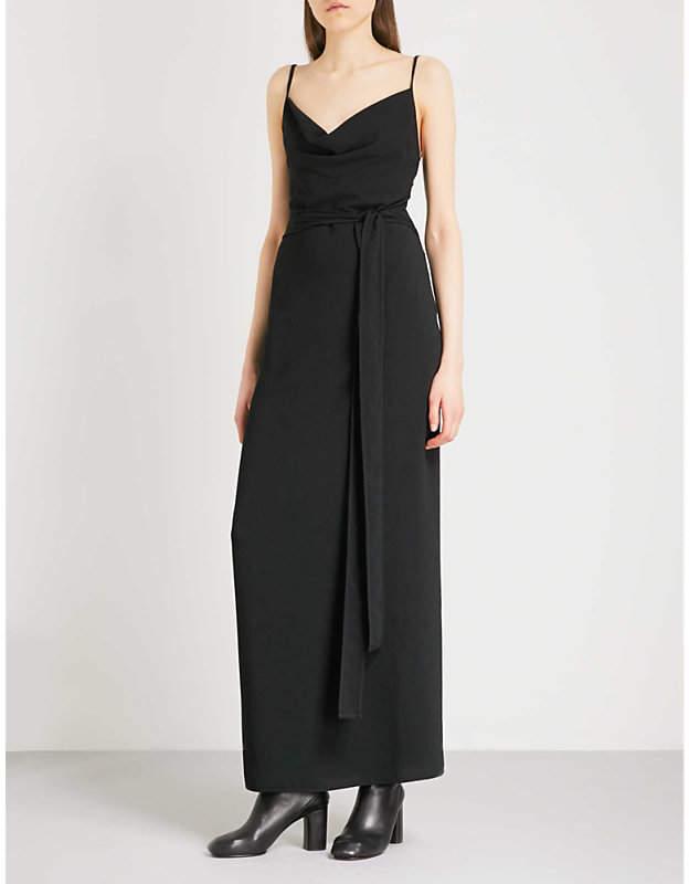 Backless crepe wrap dress
