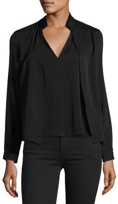Halston Heritage Double-Collar V-Neck Blouse, Black $189 thestylecure.com