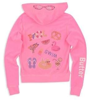 Butter Shoes Girls' Embellished Pool Day Fleece Hoodie - Big Kid