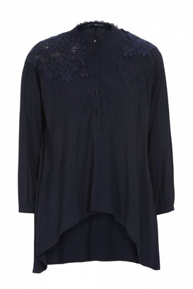 High Portray Navy Embroidered Lace Blouse - 8