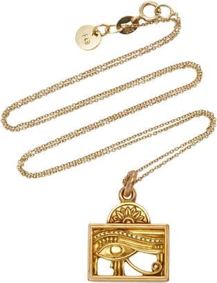 Fox and Bond Vintage Egyptian Eye 14K Gold Pendant Necklace