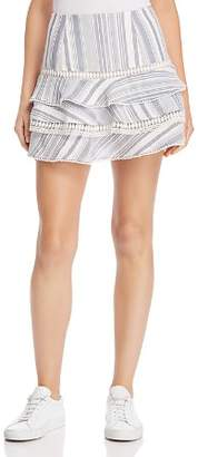 Red Carter Striped Tiered Mini Skirt