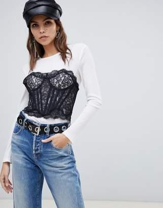 Miss Sixty bralet detail long sleeve top