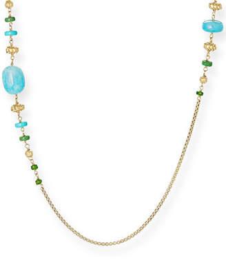 David Yurman Bijoux 18k Gold & Stone Bead Necklace