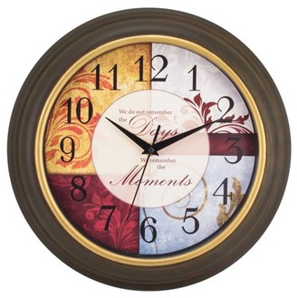 Equity by La Crosse 84601 11.25 Inch Brown Wall Clock with Inspirational Quote