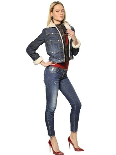 DSQUARED2 Stretch Denim Jacket With Leather Vest