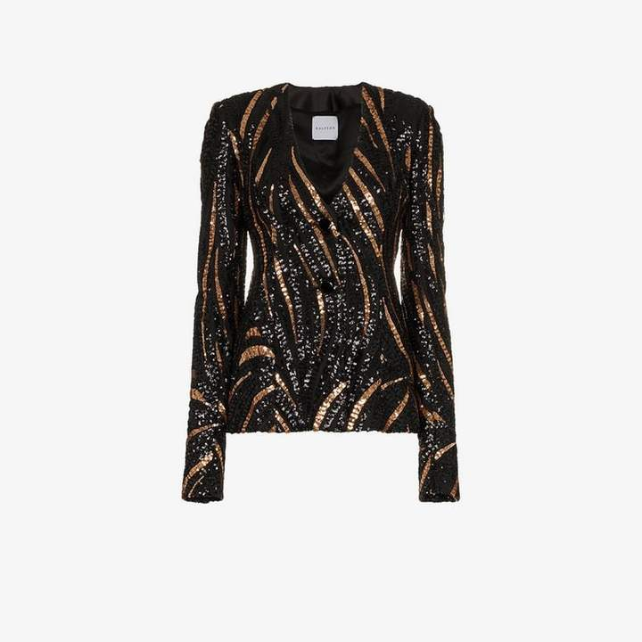 Halpern Sequin Embellished Slim Jacket