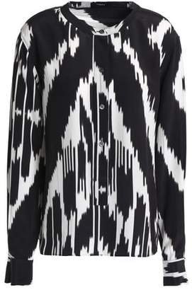 Theory Printed Silk-Crepe Blouse