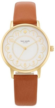 Women's Kate Spade New York 'Metro' Scalloped Dial Leather Strap Watch, 34Mm $195 thestylecure.com