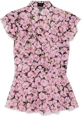 Giambattista Valli Ruffled Floral-print Silk-georgette Top - Pink
