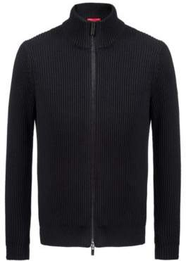 HUGO Boss Zippered knitted jacket in a wool-cotton L Black