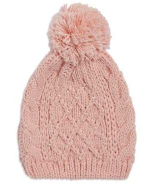 Madison 88 Crocheted Faux Pearl-Embellished Beanie