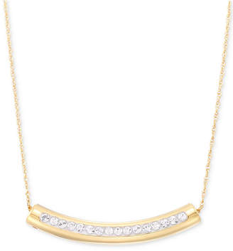 """Swarovski Signature Gold Crystal Curved Bar 18"""" Pendant Necklace, Created for Macy's"""
