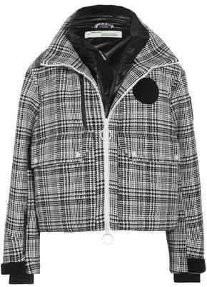 Off-Whitetm Neoprene-Paneled Checked Tweed Hooded Jacket