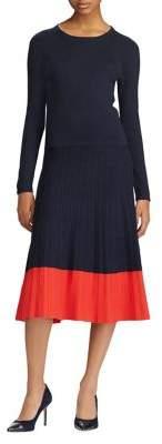 Lauren Ralph Lauren Colorblock Cotton-Blend Dress