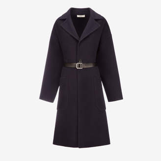 Bally Oversized Wool Trench Coat Blue, Women's double faced wool coat in ink