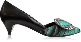 Pierre Hardy Mega Gem Black and Green Leather Mid Heel Pump
