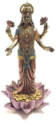 Summit Lakshmi Hindu Goddess on Lotus Statue Sculpture