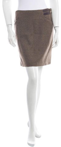 Ralph Lauren Collection Houndstooth Cashmere Skirt