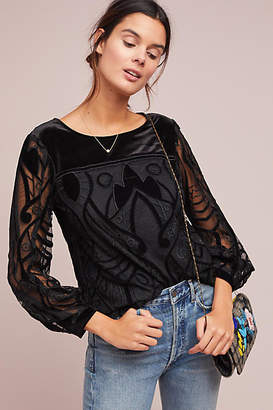 Eva Franco Velvet Patterned Top
