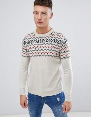 Pull&Bear Fair Isle Sweater In Ecru