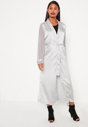 Grey Satin And Chiffon Mixed Belted Duster Coat $77 thestylecure.com