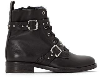 Mustang Leather Ankle Boots with Laces and Buckles