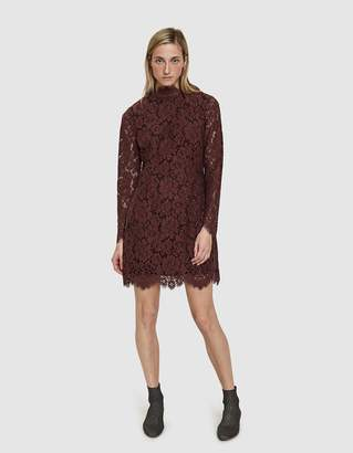 Ganni Jerome Lace Dress in Chocolate