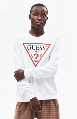 Guess Tri Logo Zipper Crew Neck Sweatshirt
