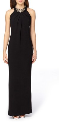 Tahari Embellished Stretch Crepe Column Gown $199 thestylecure.com