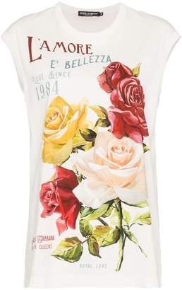 Dolce & Gabbana L'Amore peony print tank top