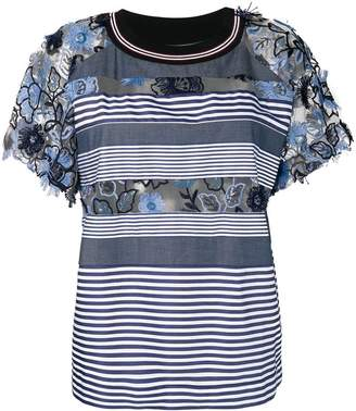 Antonio Marras embroidered floral striped T-shirt