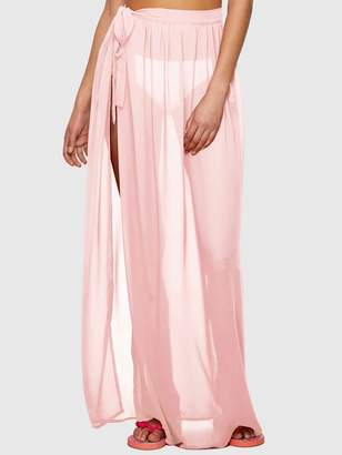 Shein Solid Tie Side Split Thigh Sheer Cover Up Skirt