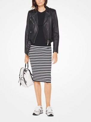 MICHAEL Michael Kors Striped Stretch-Viscose Pencil Skirt