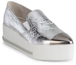 Miu Miu Cap Toe Metallic Leather Platform Skate Sneakers