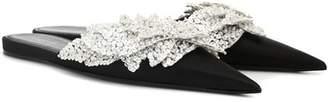 Embellished satin slippers