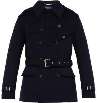 Ralph Lauren Purple Label Double Breasted Melton Wool Trench Coat - Mens - Navy