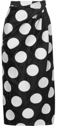 Carolina Herrera Gathered Polka-dot Satin-jacquard Midi Skirt - Black