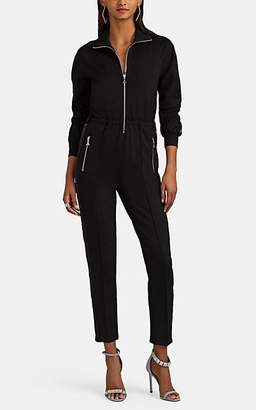 Area Women's Lamé-Trimmed Tuxedo Track Jumpsuit - Black
