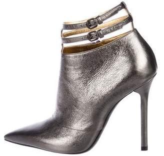 Bottega Veneta Metallic Pointed-Toe Booties