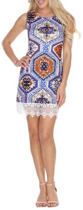 White Mark Women's Geometric Printed Crochet Trim Mini Dress