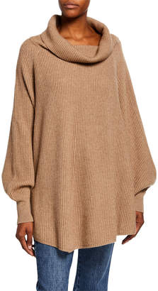 Co Ribbed Cowl-Neck Cape-Back Sweater