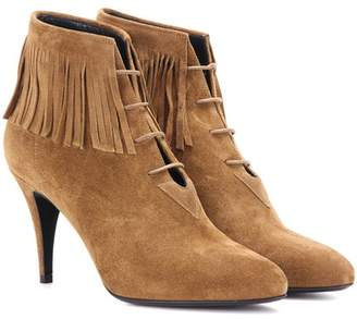 Saint Laurent Anita 85 fringed suede ankle boots