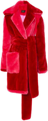 Christian Siriano Color Blocked Faux Fur Coat