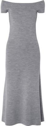 Gabriela Hearst Larrington Off-the-shoulder Mélange Wool-blend Midi Dress - Gray
