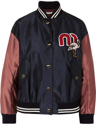 Miu Miu Appliquéd Satin-shell Bomber Jacket - Navy