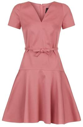 Paule Ka Belted Fit-And-Flare Dress