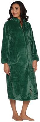 Stan Herman Petite Silky Plush Trimmed Wave Long Zip Robe